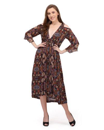 Printed chiffon ladies midi dress