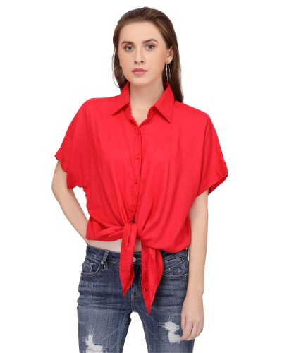 Candy red ladies button down shirt