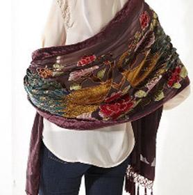 Peacock Velvet Silk-blend shawl