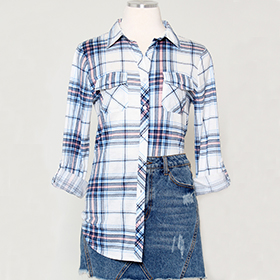 Roll up Sleeve Stretch Plaid Shirt