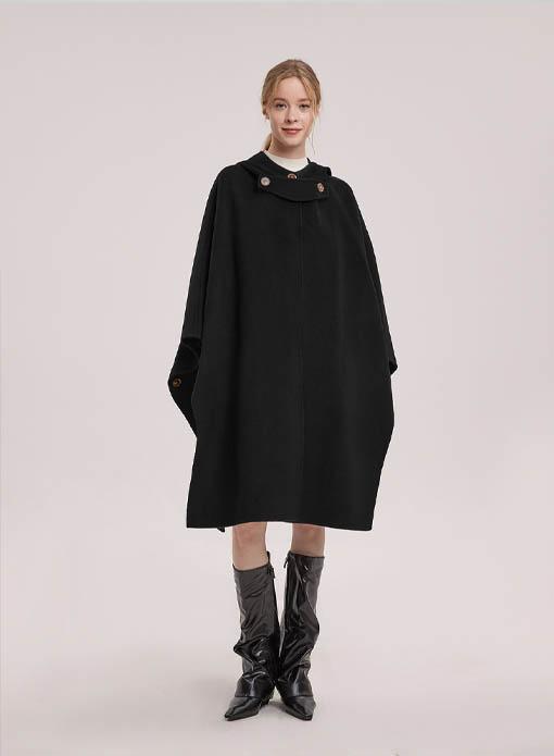 Vivian Hooded Wool Cape Coat