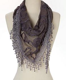 Gray Rosette Silk Blend Scarf