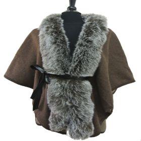 TX116 Belted Faxu Fur Cape