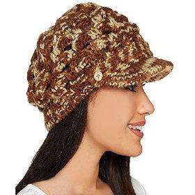Open Weave Brimmed Beanie Hat