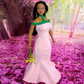Pink and Green Mermaid Dress