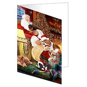 Sleeping Santa Dogs Greeting Cards