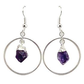 Amethyst Point Circle Earrings