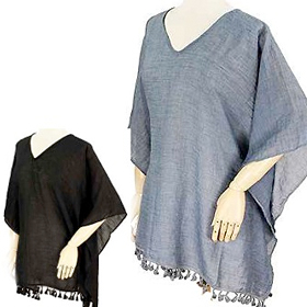 Crinkle Solid Color Viscose Poncho