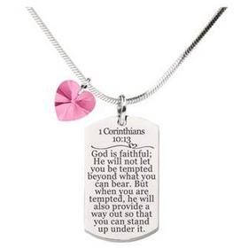 1 Corinthians 10:13 Tag Necklace