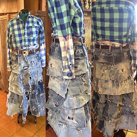Denim Bustle Skirt
