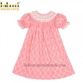 Geometric smocked baby girl dress