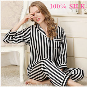 100% Silk pajamas in spring and summer silk stripes suit