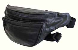 6Zipper Pocket Genuine Soft Leather Fanny Pack Travel Waist Bag Small Size Black