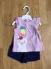 2pz t-SHIRT purple with blue shorts 2pz cat with pineapple