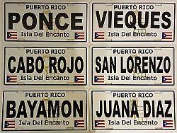 PUERTO RICO ''CITIES'' CAR LICENSE PLATES