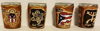 PUERTO RICO ''LEATHER'' SHOT GLASSES
