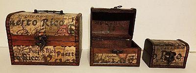 PUERTO RICO WOOD JEWELRY BOX SET