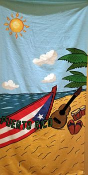 PUERTO RICO ''INSTRUMENTS'' BEACH TOWEL