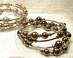 Color Beads Memory Wire BRACELET in Brown