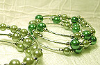 Color Beads Memory Wire BRACELET in Green