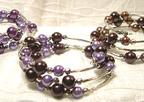 Color Beads Memory Wire BRACELET in Purple