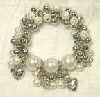 Stretchable Silver bead/Pearl Style BRACELET  in White
