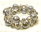 Stretchable BRACELET  in Silver Gray