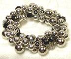 Stretchable Silver Bead & Crystal Style  BRACELET