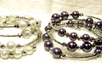 Color Beads Memory Wire BRACELET in Silver/White