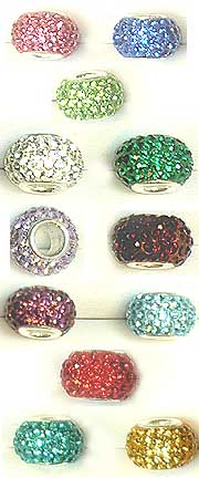 BIRTHSTONE Color Crystal Beads w/ Silver Core