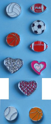 Floating Charm Slide Heart-Sport (8 mm / Rhinestone Style)