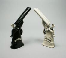 Ceramic FIGURINE Pipe - double barrel hand gun