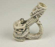 Ceramic Dragon Skull FIGURINE Pipe