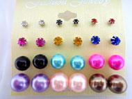 Earring - PEARL & Studs - Asst Color - #PER-112ASST(ER8-08)
