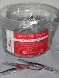 Square Tip Tweezers - 72pcs/Canister - #NC5072