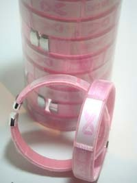 Open BANGLE in Canister-Pink Ribbon -/3D-#RJW-136PK