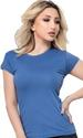 Women's  crew-neck short sleeve T-SHIRT top with lay-flat collar