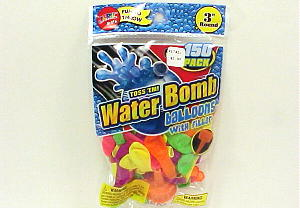 WATER BOMB BALLOONS 150 PACK, WITH FILLER  FUN TO THROW 3'' ROUND