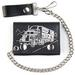 KEEP ON TRUCKING LEATHER TRIFOLD WALLEET W CHAIN