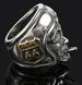 ROUTE 66 BIKERS HEAD WITH HELMET STAINLESS STEEL BIKER RING