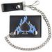SPADES WITH BLUE FLAMES LEATHER TRIFOLD WALLET