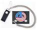 USA PEACE SIGN LEATHER TRIFOLD WALLET W CHAIN
