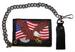 EMBROIDERED AMER FLAG EAGLE LEATHER TRIFOLD WALLET WITH CHAIN