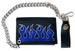 EMBROIDERED BLUE FLAMES LEATHER TRIFOLD WALLET WITH CHAIN
