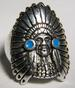 INDIAN WITH HEAD DRESS DELUXE BIKER RING