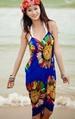 Beach Wrap DRESS/Skirt With Narrow Straps & Low-cut Back