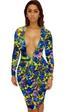 Colorful Print Long Sleeve Deep V Women Sexy DRESS LB9437