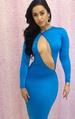 Blue Nude Front Open bodycon DRESS with Long Sleeve LB9424