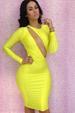 Long Sleeve Yellow Party DRESS LB9423