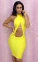 Yellow Cross Hollow Out Front Bodycon DRESS LB5556